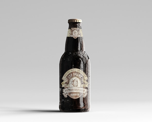 Maquete de garrafa de cerveja de vidro âmbar com gotas de água - vista frontal