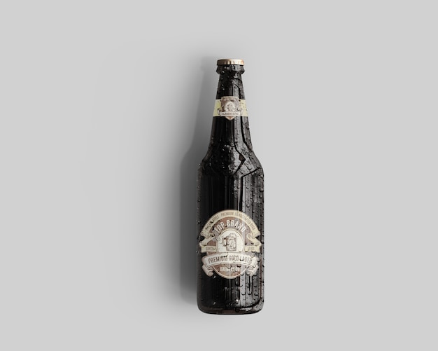 Maquete de garrafa de cerveja de vidro âmbar com gotas de água - vista superior