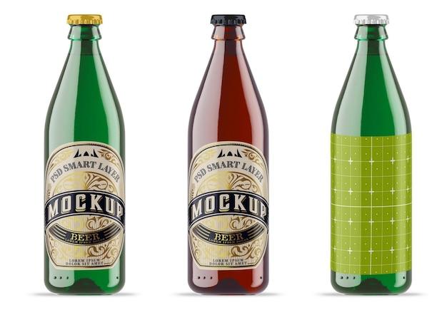 Maquete de garrafa de cerveja de vidro colorido