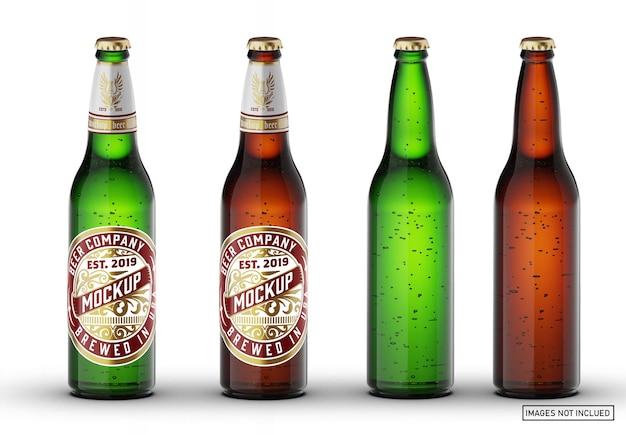 Maquete de garrafa de cerveja de vidro verde marrom