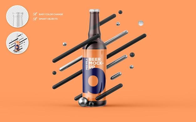 Maquete de garrafa de cerveja de vidro