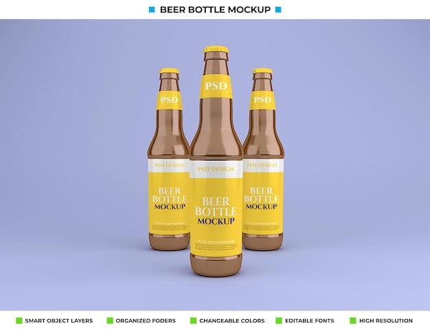 Maquete de garrafa de cerveja isolada