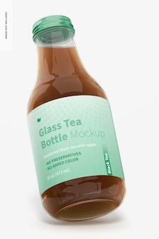 Maquete de garrafa de chá de vidro de 16 onças, inclinado