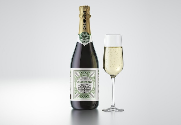 Maquete de garrafa de champanhe com vidro