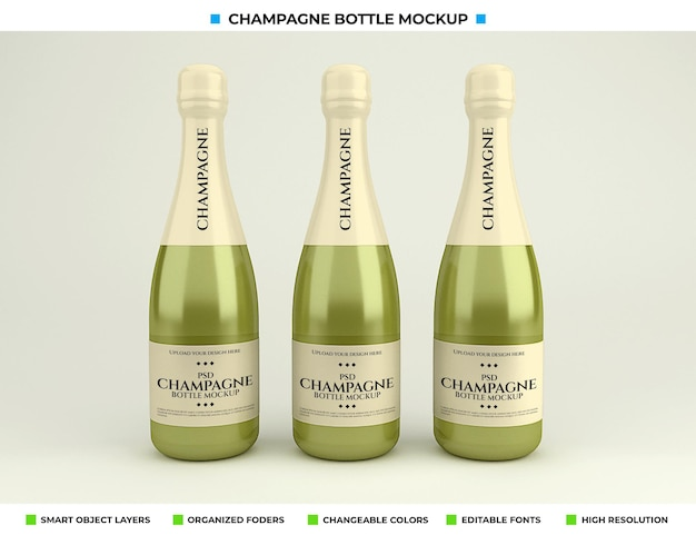 Maquete de garrafa de champanhe isolada
