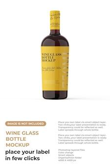 Maquete de garrafa de copo de vinho