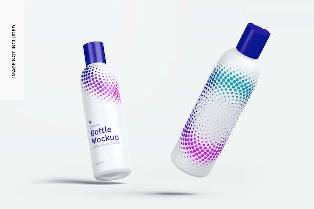 Maquete de garrafa de cosméticos com tampa de disco, caindo