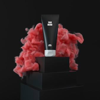 Maquete de garrafa de creme branco na ilustração 3d fumaça vermelha