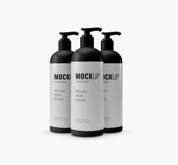Maquete de garrafa de creme de banho renderização em 3d realista