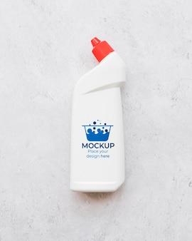 Maquete de garrafa de detergente de vista superior