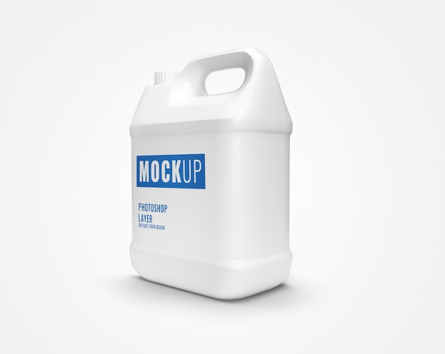Maquete de garrafa de galão branco