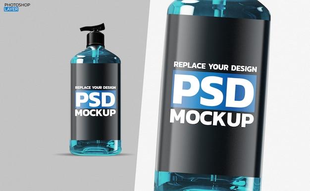 Maquete de garrafa de gel de álcool design de renderização em 3d