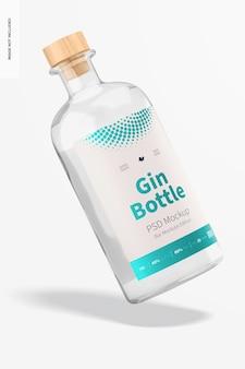 Maquete de garrafa de gim flutuante