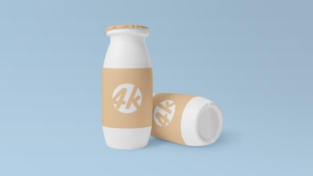 Maquete de garrafa de iogurte