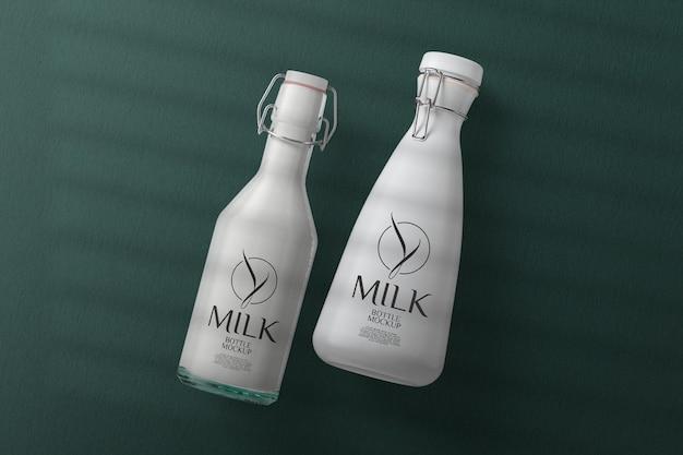 Maquete de garrafa de leite com vista superior