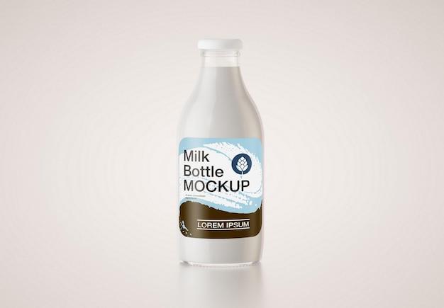 Maquete de garrafa de leite de vidro