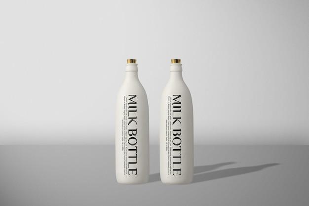 Maquete de garrafa de leite de vista frontal