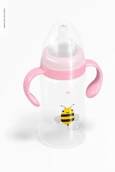 Maquete de garrafa de leite infantil de 300 ml, vista isométrica