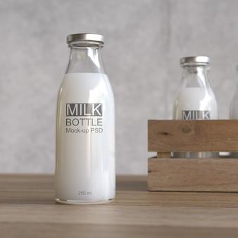 Maquete de garrafa de leite
