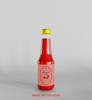Maquete de garrafa de molho de ketchup de tomate