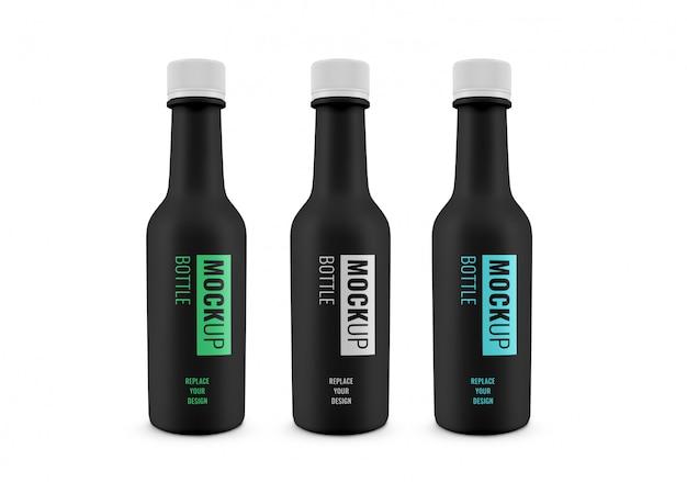 Maquete de garrafa de molho publicidade realista Psd Premium