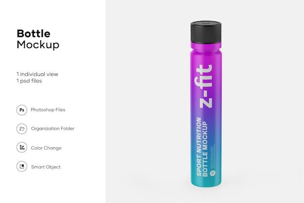 Maquete de garrafa de nutrição esportiva de plástico brilhante