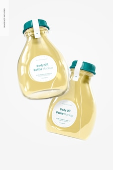Maquete de garrafa de óleo corporal, flutuante