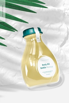 Maquete de garrafa de óleo corporal, inclinado