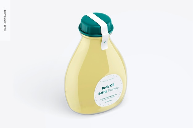 Maquete de garrafa de óleo corporal, vista direita isométrica