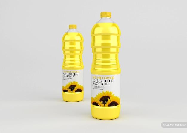 Maquete de garrafa de óleo de girassol isolada