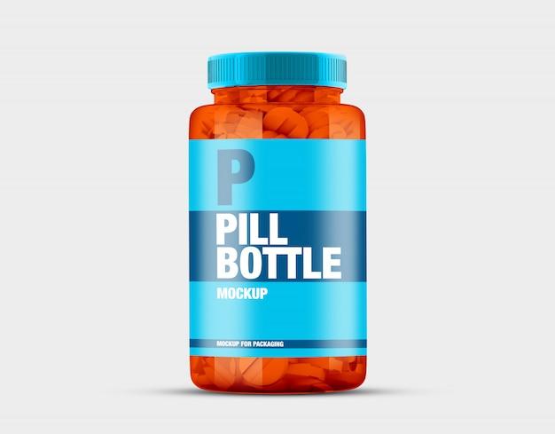Maquete de garrafa de pílula transparente
