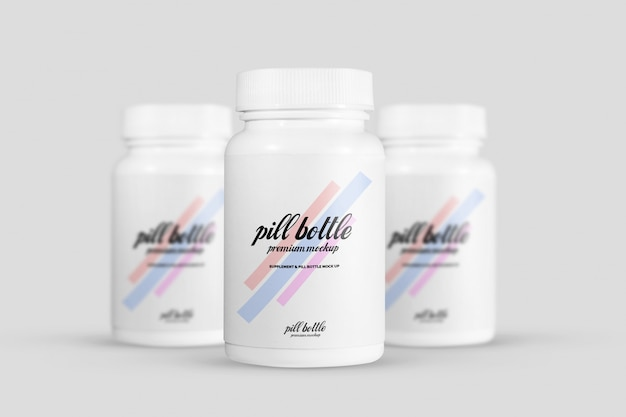 Maquete de garrafa de pílula