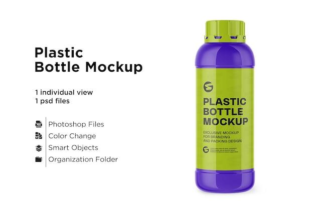 Maquete de garrafa de plástico brilhante