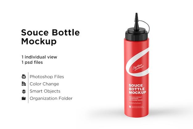 Maquete de garrafa de plástico de ketchup de tomate