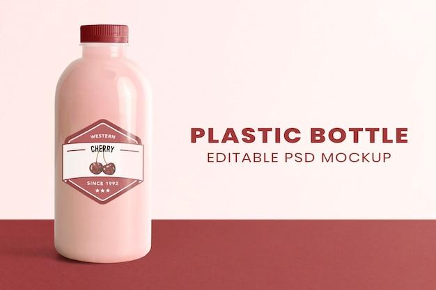 Maquete de garrafa de plástico de leite psd com embalagem de produto de rótulo