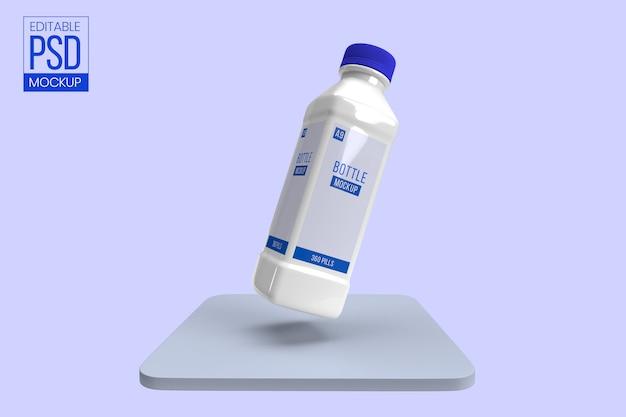 Maquete de garrafa de plástico sólido