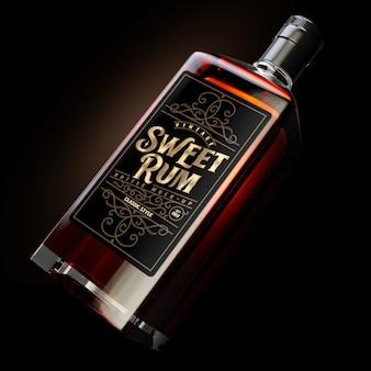 Maquete de garrafa de rum quadrado escuro com etiqueta