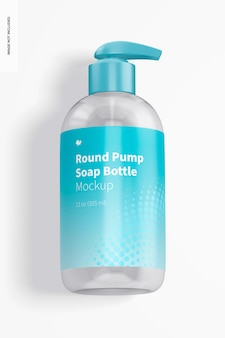 Maquete de garrafa de sabão de bomba redonda, vista superior