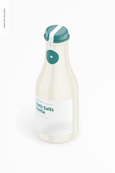Maquete de garrafa de sais de banho, vista isométrica
