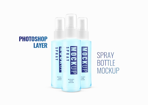 Maquete de garrafa de spray cosmético de álcool realista