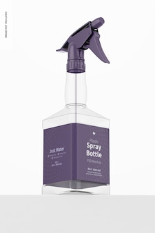 Maquete de garrafa de spray de plástico com visão de baixo ângulo