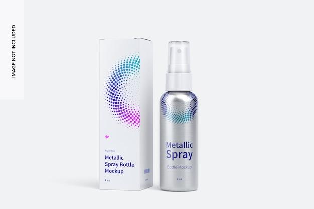 Maquete de garrafa de spray metálico de 4 oz com caixa de papel