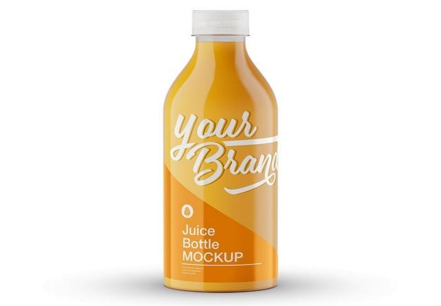 Maquete de garrafa de suco de laranja