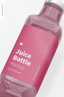 Maquete de garrafa de suco de vidro de 16 onças, close-up