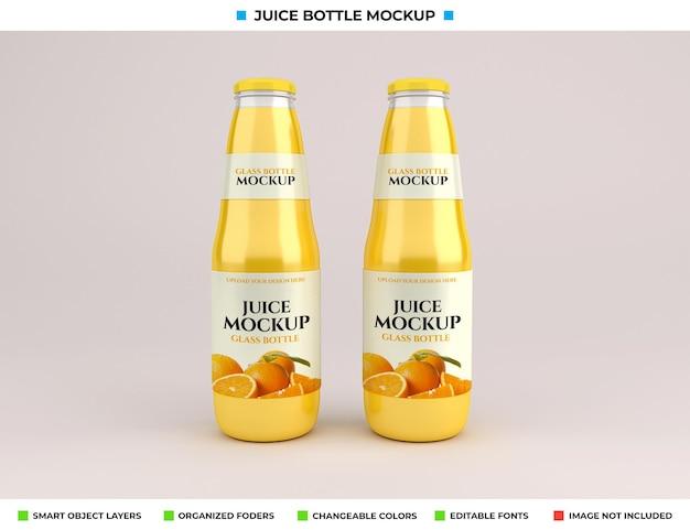 Maquete de garrafa de suco de vidro isolada