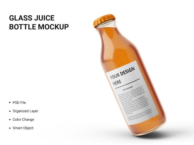 Maquete de garrafa de suco de vidro Psd Premium