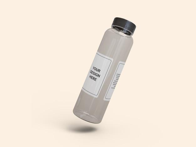 Maquete de garrafa de suco transparente fino