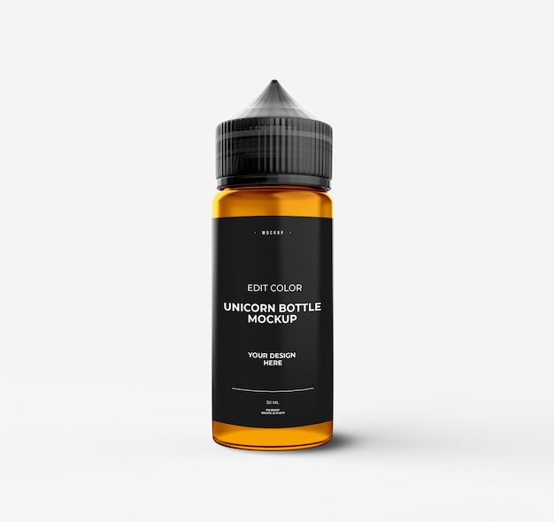Maquete de garrafa de unicórnio sobre cor branca