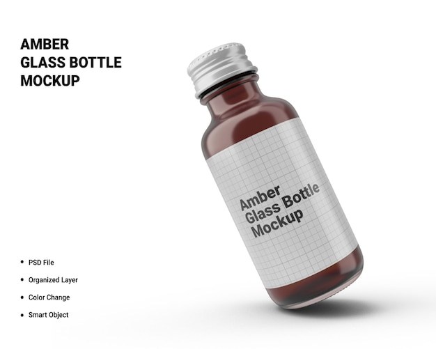 Maquete de garrafa de vidro âmbar