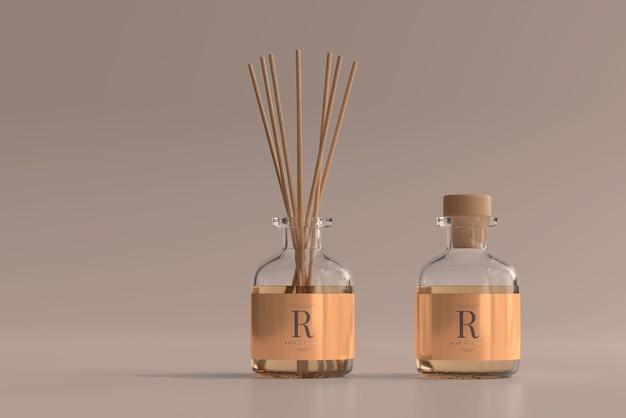 Maquete de garrafa de vidro de difusor de palheta para ambientador de incenso